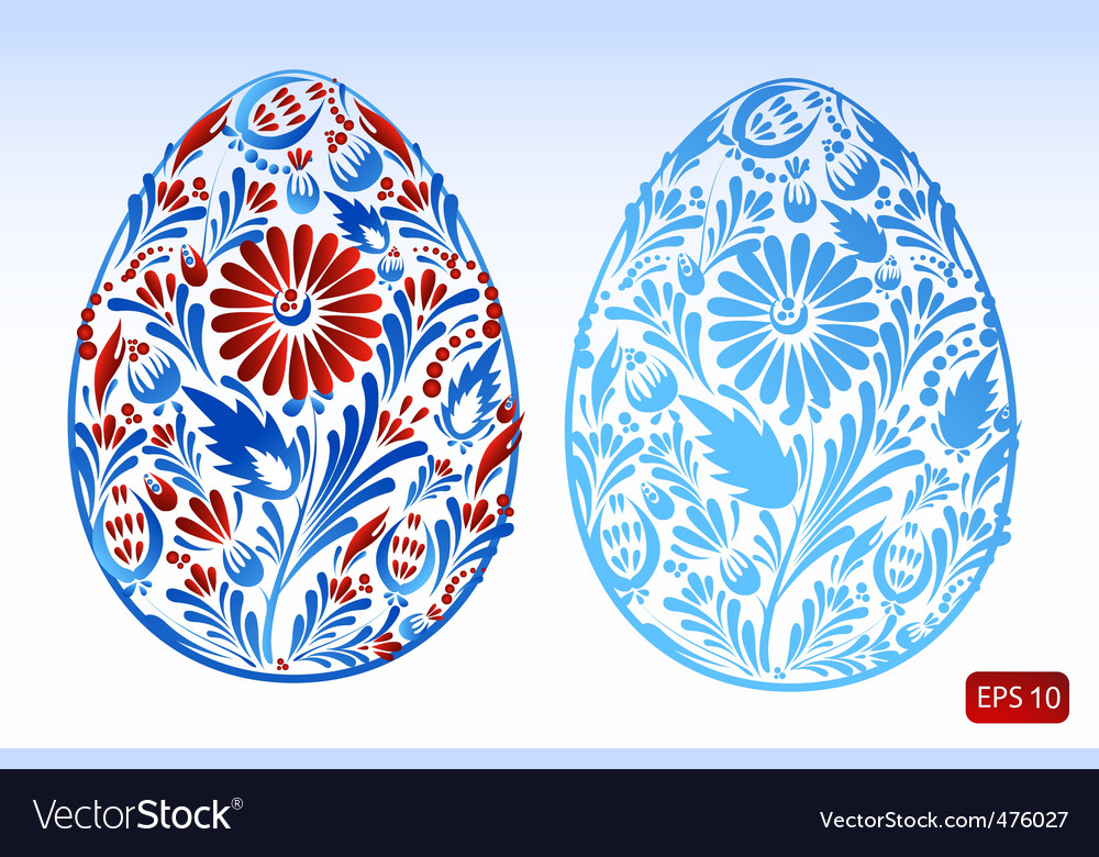 Set of floral easter eggs vector | Price: 1 Credit (USD $1)