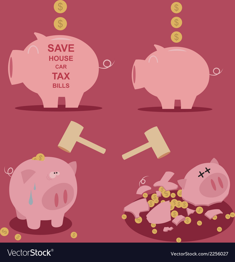 Set of piggy bank saving money vector | Price: 1 Credit (USD $1)