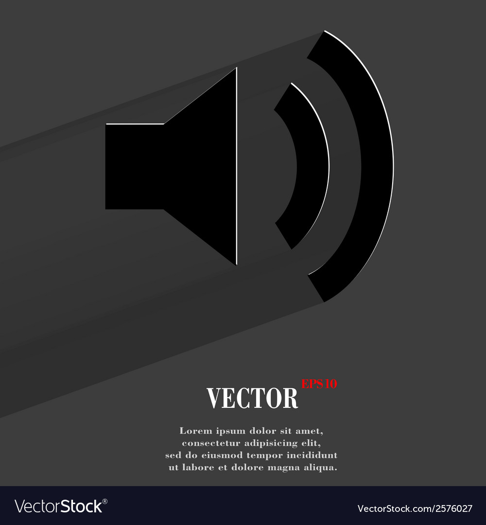 Speaker flat modern web button with long shadow vector | Price: 1 Credit (USD $1)
