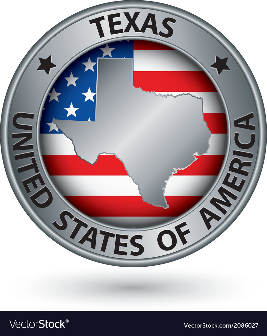 Texas state silver label with state map vector | Price: 1 Credit (USD $1)