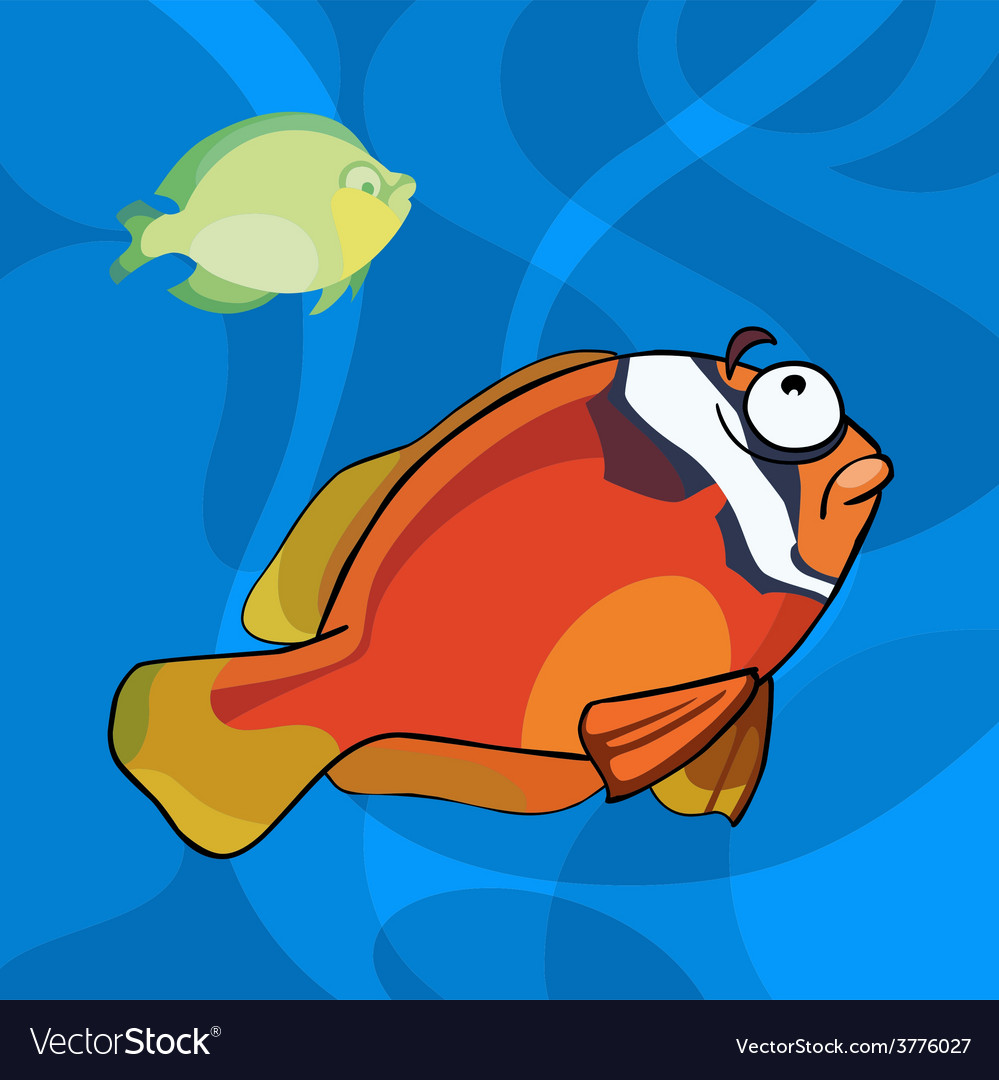 Two cartoon tropical fish in water vector | Price: 3 Credit (USD $3)