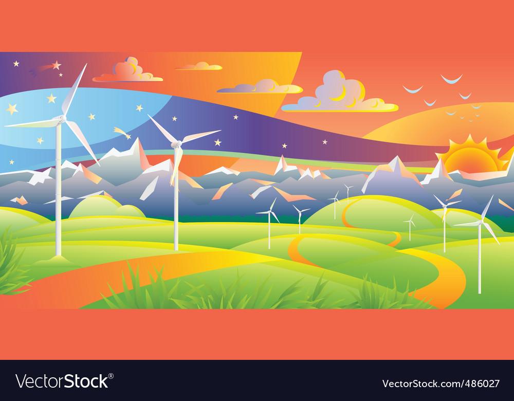 Wind turbines vector | Price: 1 Credit (USD $1)