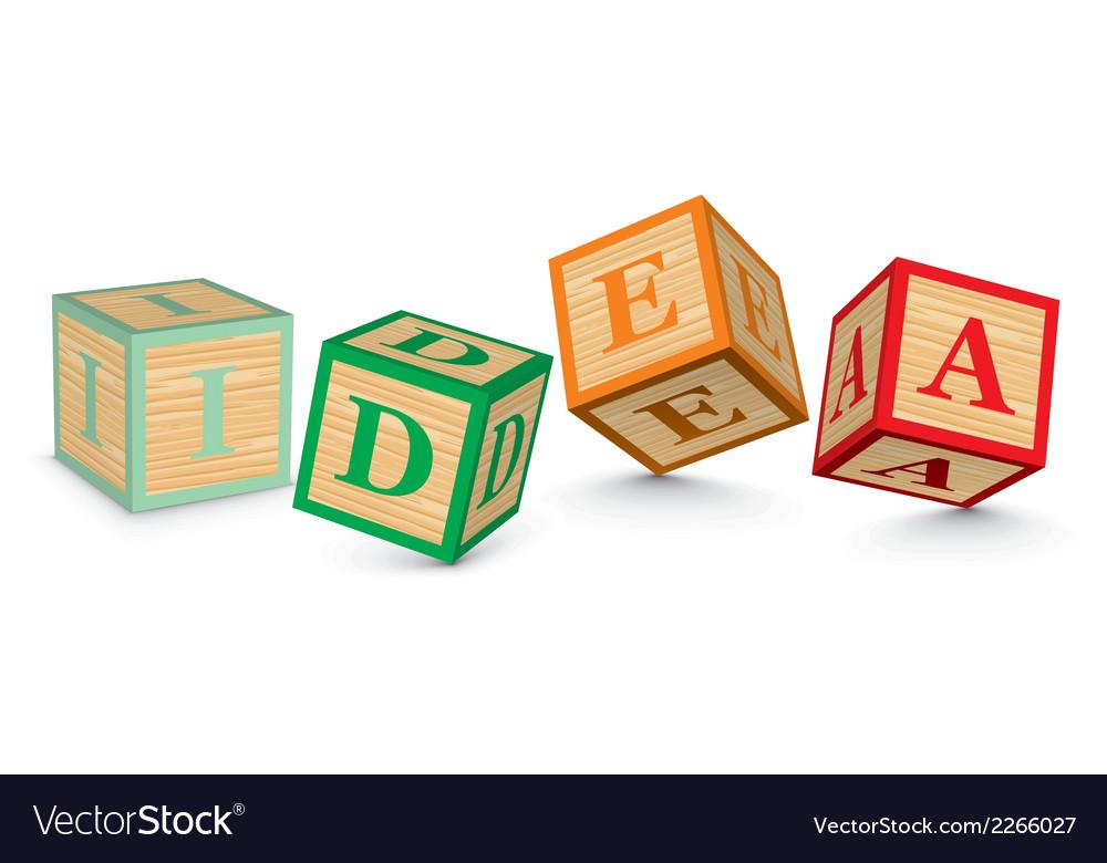 Word idea written with alphabet blocks vector | Price: 1 Credit (USD $1)