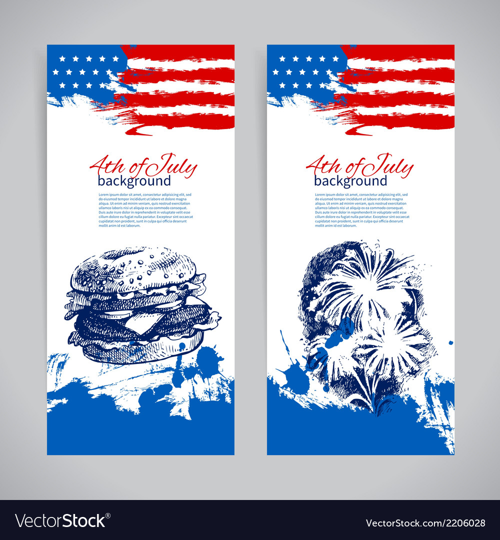 Banners of 4th july backgrounds with american flag vector | Price: 1 Credit (USD $1)