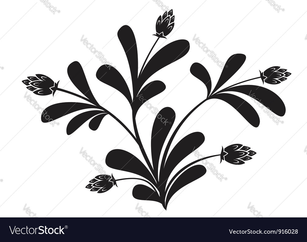 Black silhouette of floral element vector | Price: 1 Credit (USD $1)