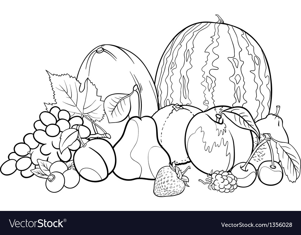 Fruits group for coloring book vector | Price: 1 Credit (USD $1)