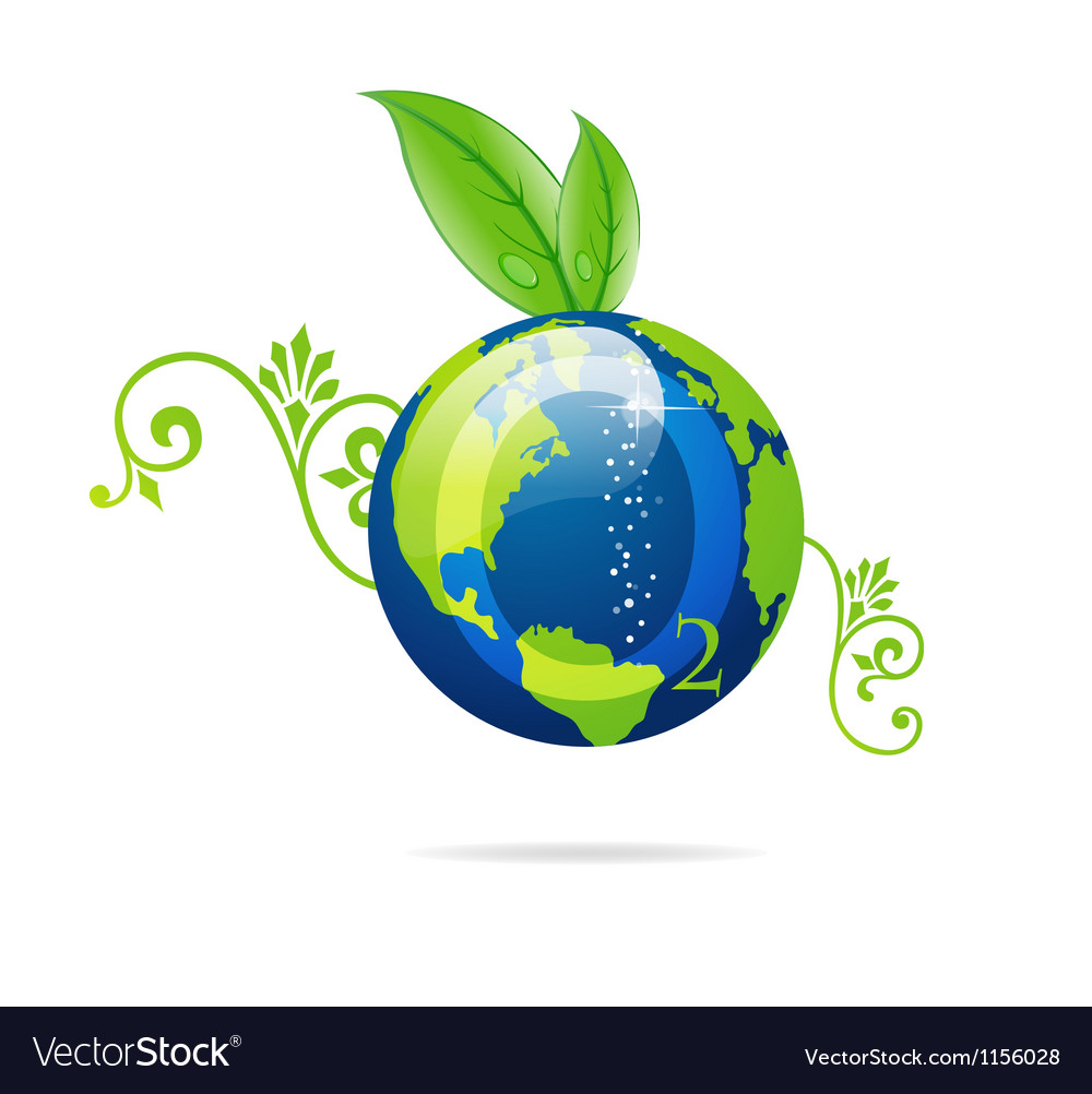 Green eco sign of blue earth vector | Price: 1 Credit (USD $1)