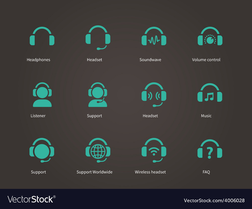 Headphones and headset icons vector | Price: 1 Credit (USD $1)