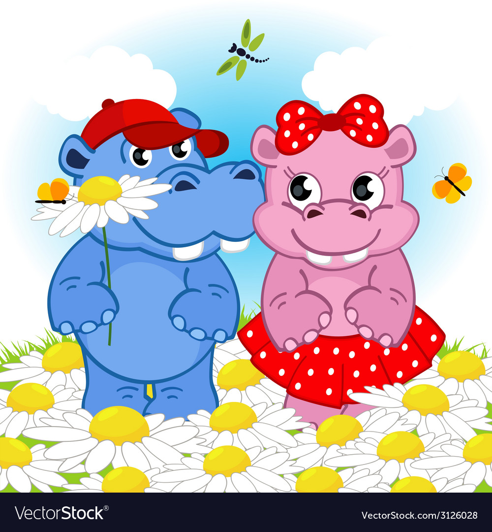 Hippo boy gives flower girl vector | Price: 1 Credit (USD $1)