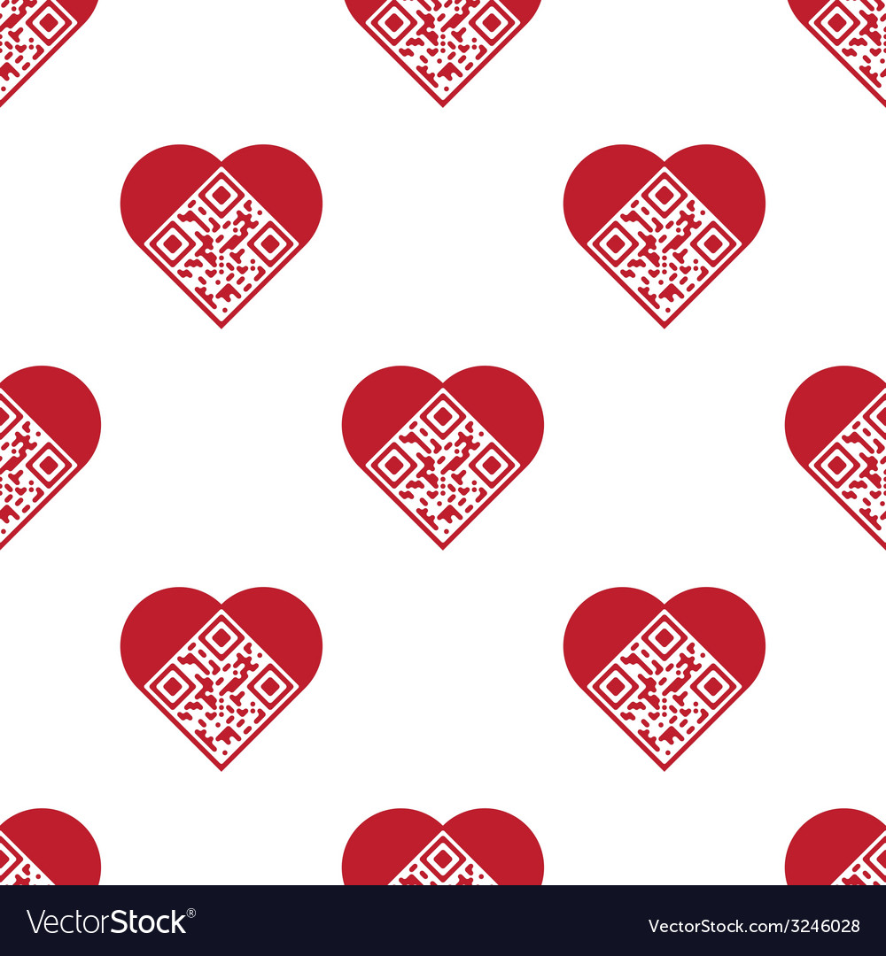 Qr code in shape of heart seamless pattern vector | Price: 1 Credit (USD $1)