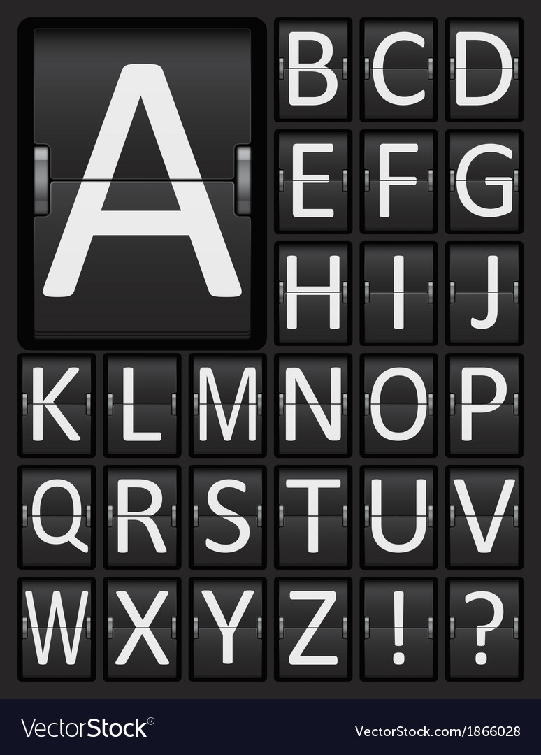 Scoreboard mechanical panel letters alphabet vector | Price: 1 Credit (USD $1)
