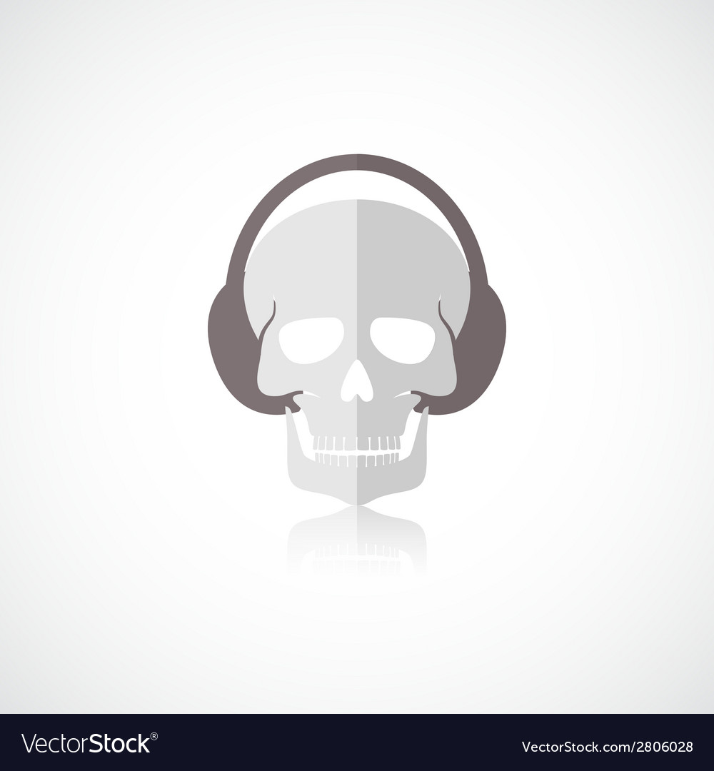 Skull with headphones icon vector | Price: 1 Credit (USD $1)