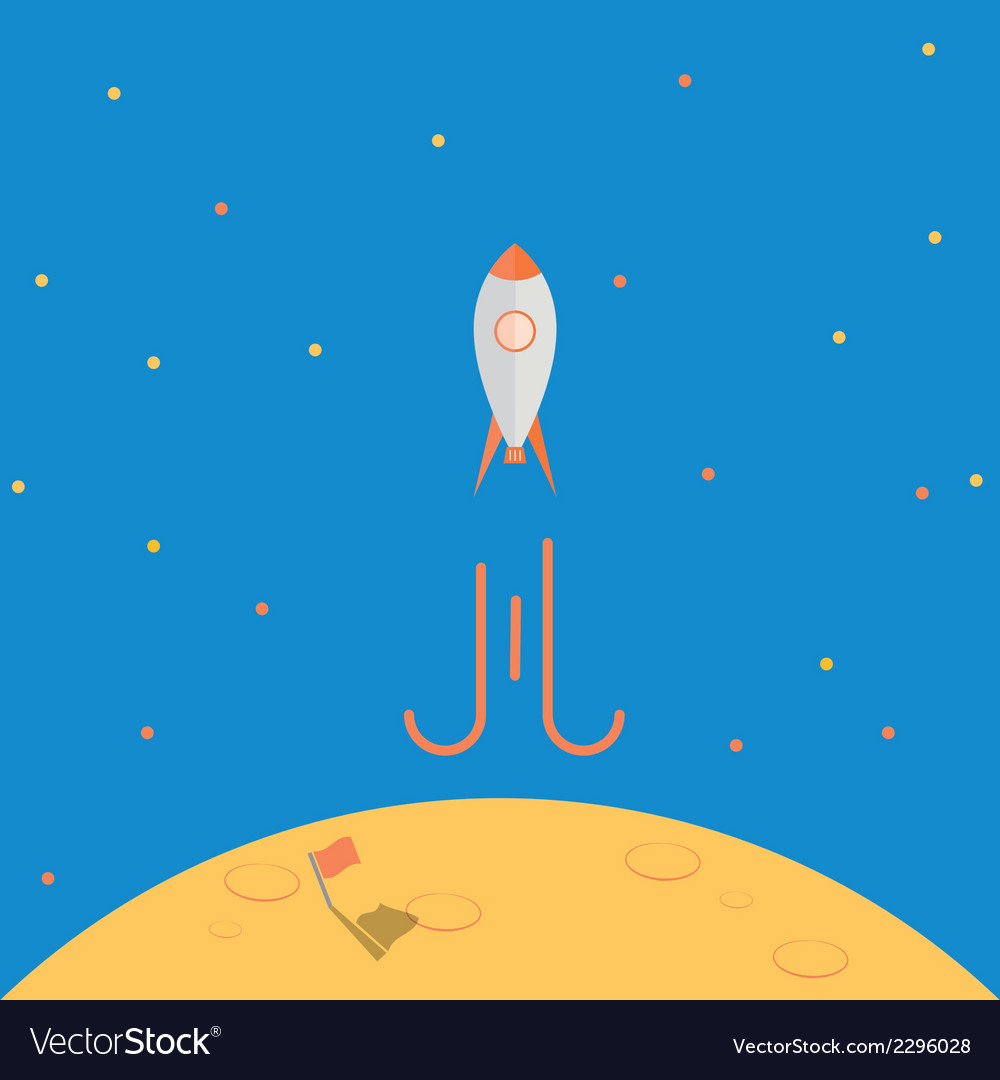 Spaceship launch from planet after mission complet vector | Price: 1 Credit (USD $1)
