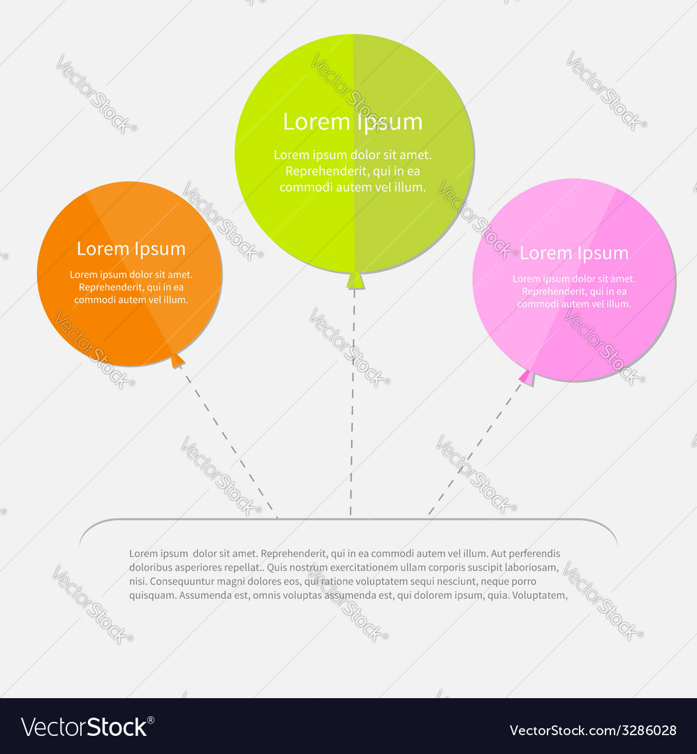 Three balloon infographic with dash line flat vector | Price: 1 Credit (USD $1)