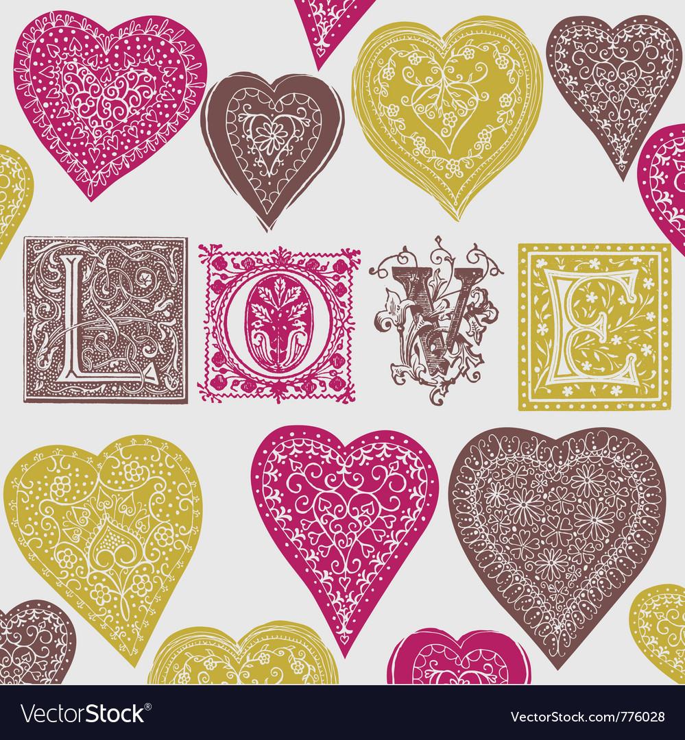 Vintage love print vector | Price: 1 Credit (USD $1)