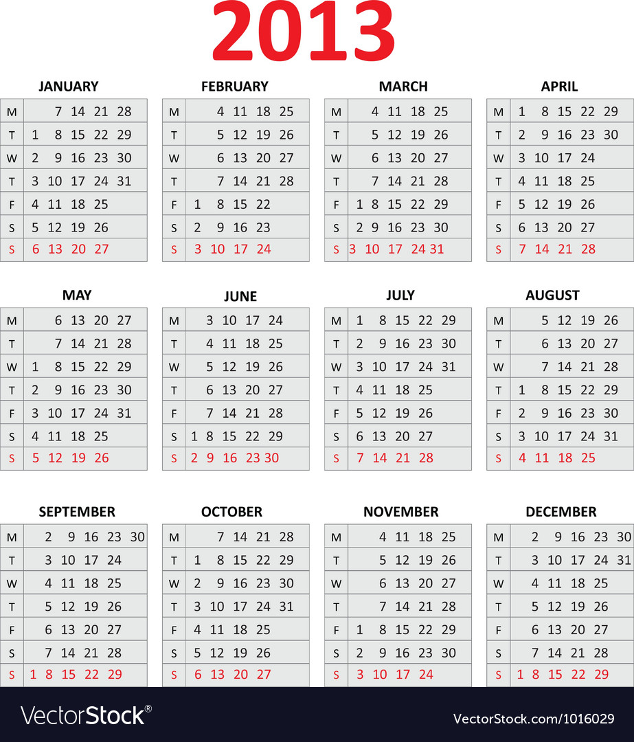 2013 simple calendar monday first day of the week vector | Price: 1 Credit (USD $1)