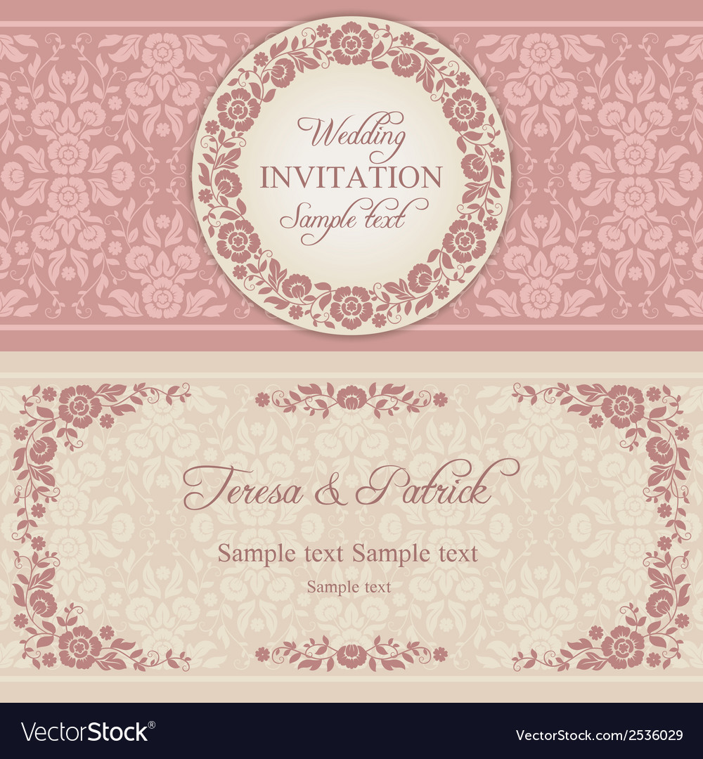 Baroque wedding invitation pink and beige vector | Price: 1 Credit (USD $1)