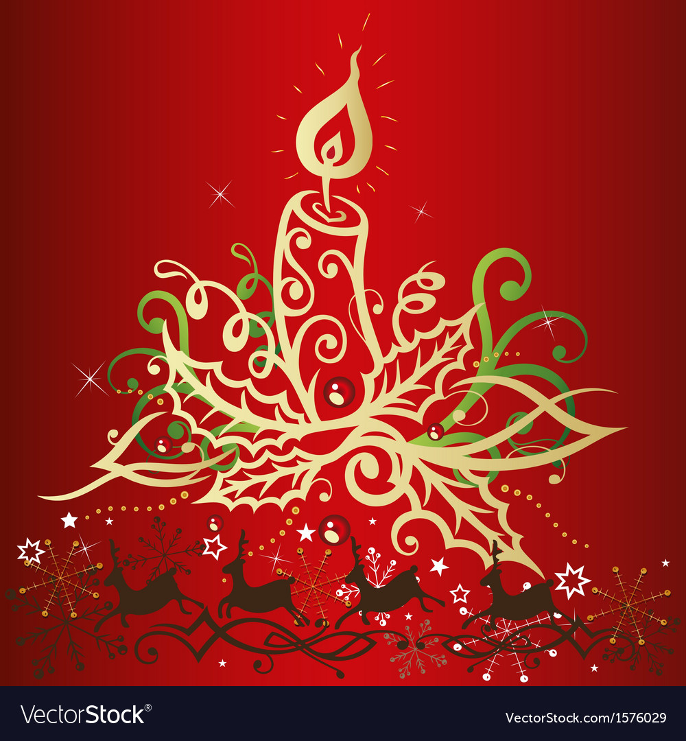 Christmas xmas reindeer candles vector | Price: 1 Credit (USD $1)