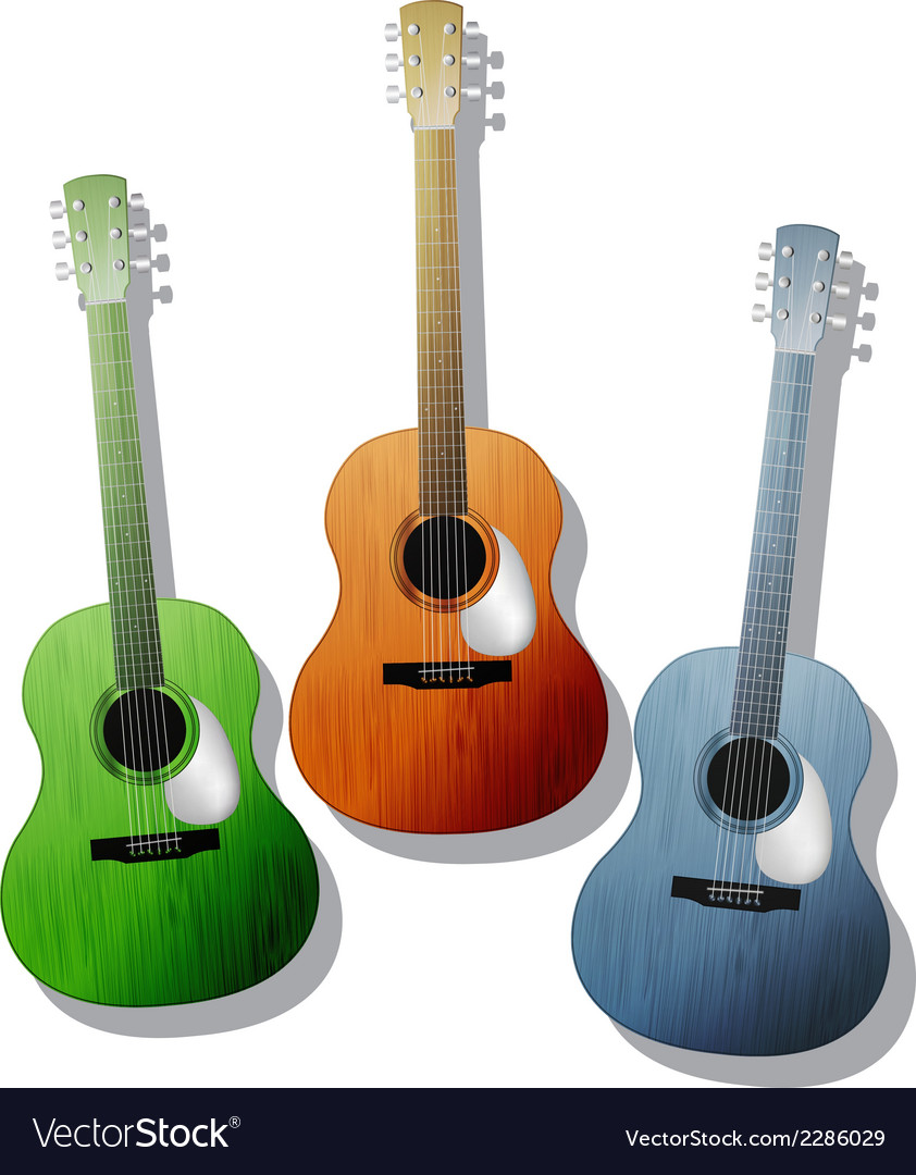 Colored guitars vector | Price: 1 Credit (USD $1)