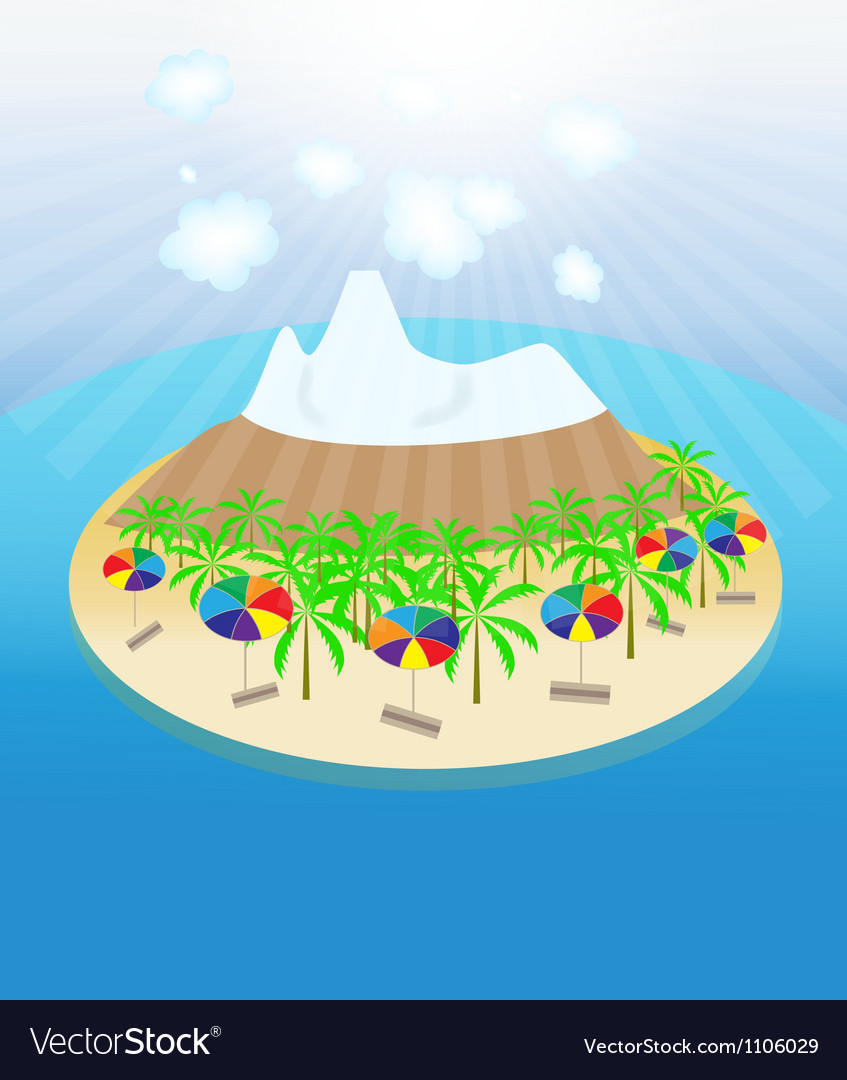Island palm trees sun umbrellas seamless pattern vector | Price: 1 Credit (USD $1)