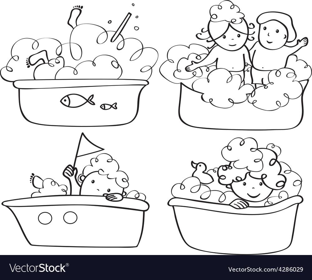 Kids bath contour vector | Price: 3 Credit (USD $3)