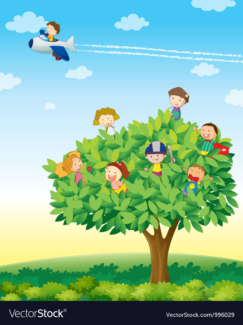 Kids playing on tree vector | Price: 1 Credit (USD $1)