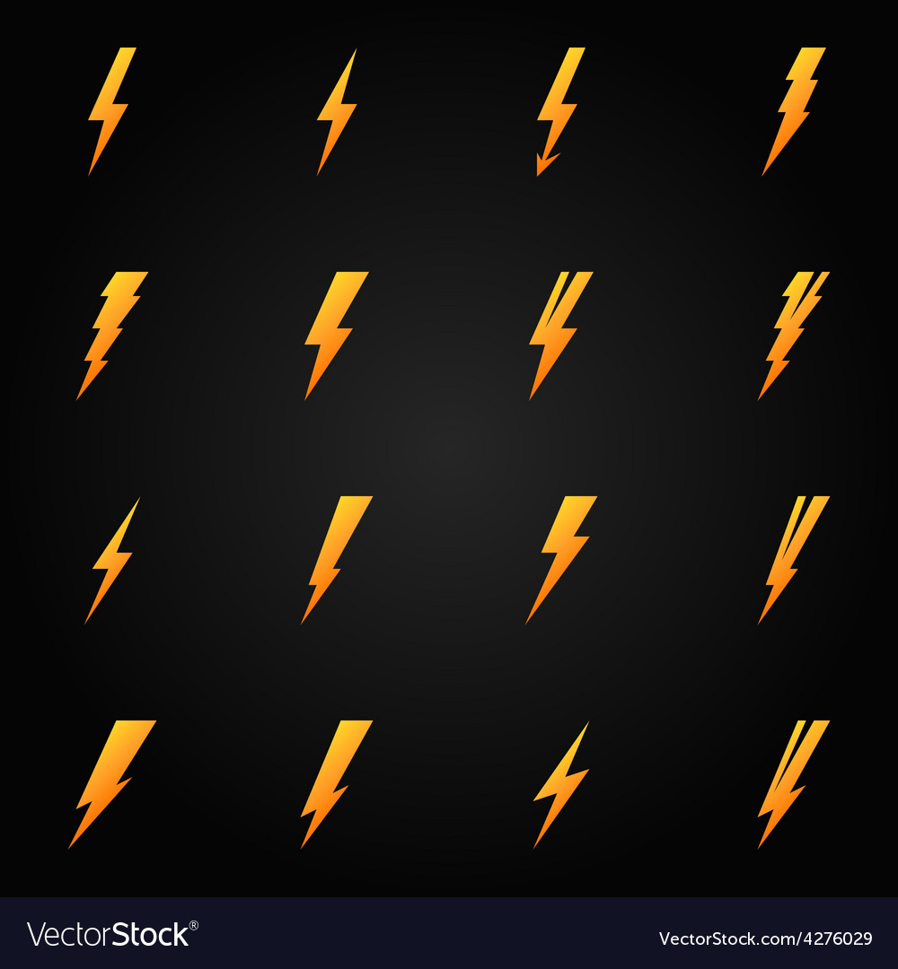 Lightning icons gold set vector | Price: 1 Credit (USD $1)