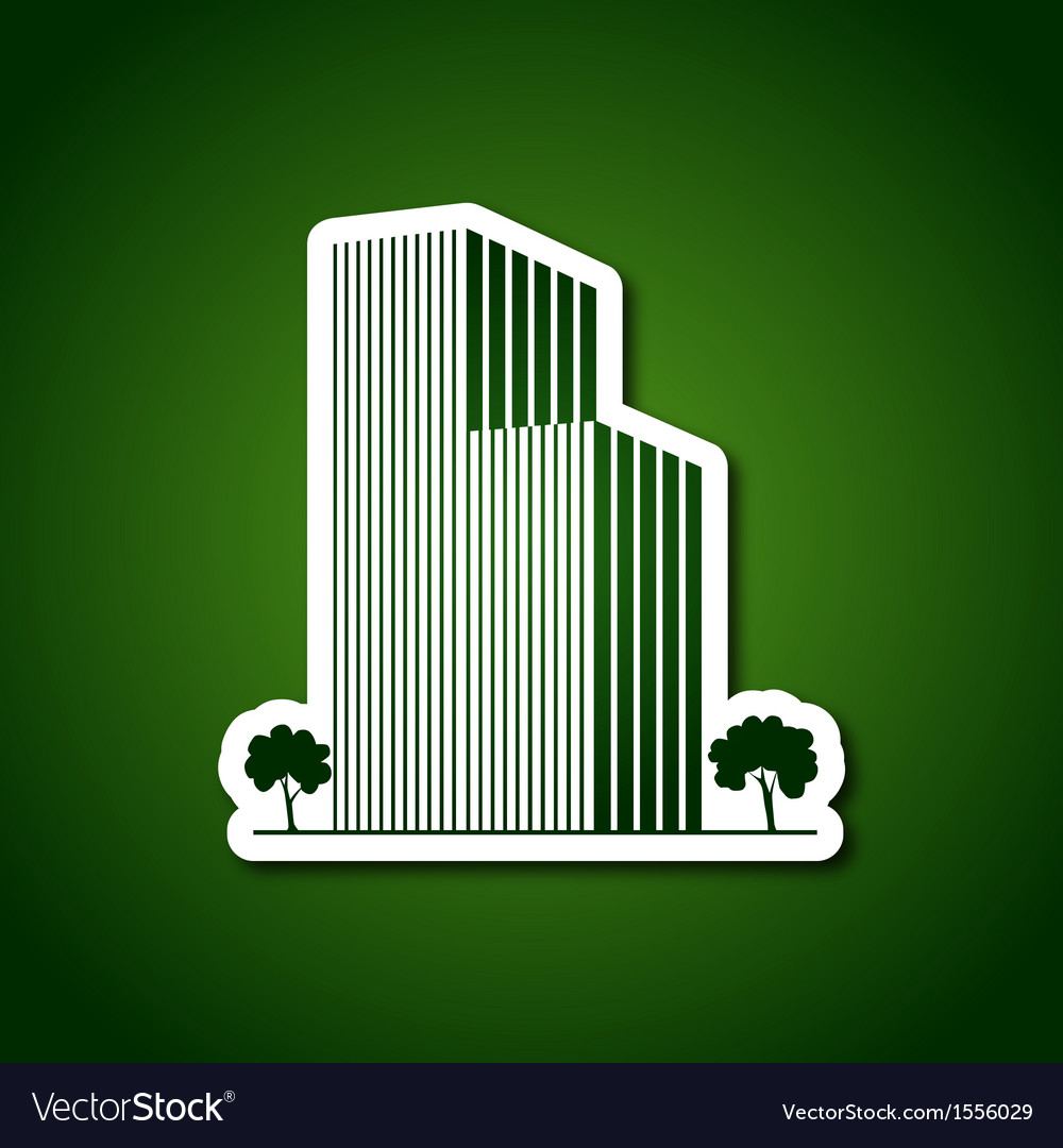 Paper buildings and trees over green vector | Price: 1 Credit (USD $1)