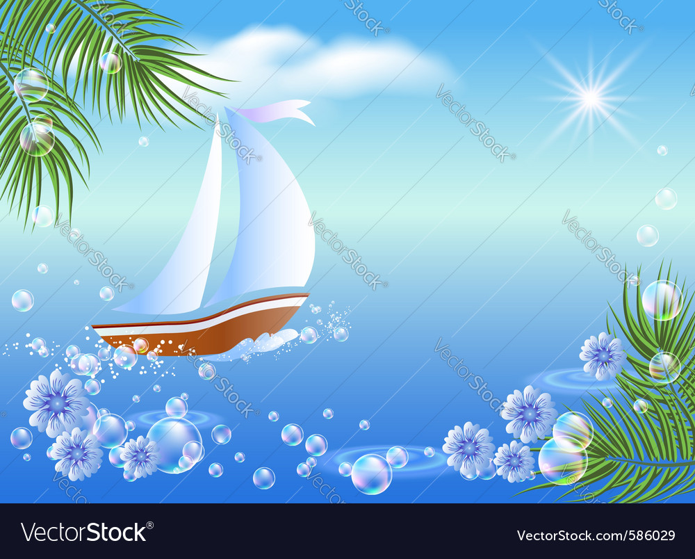 Sailboat floats vector | Price: 1 Credit (USD $1)
