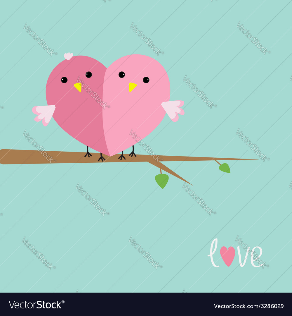 Two pink birds in shape of heart love cart flat vector | Price: 1 Credit (USD $1)