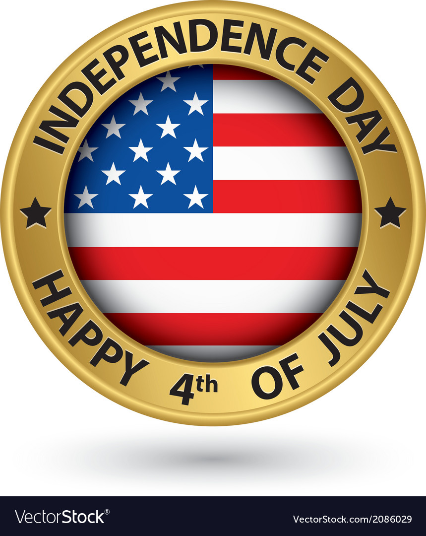 Usa indpendence day the 4th of july gold label vector | Price: 1 Credit (USD $1)