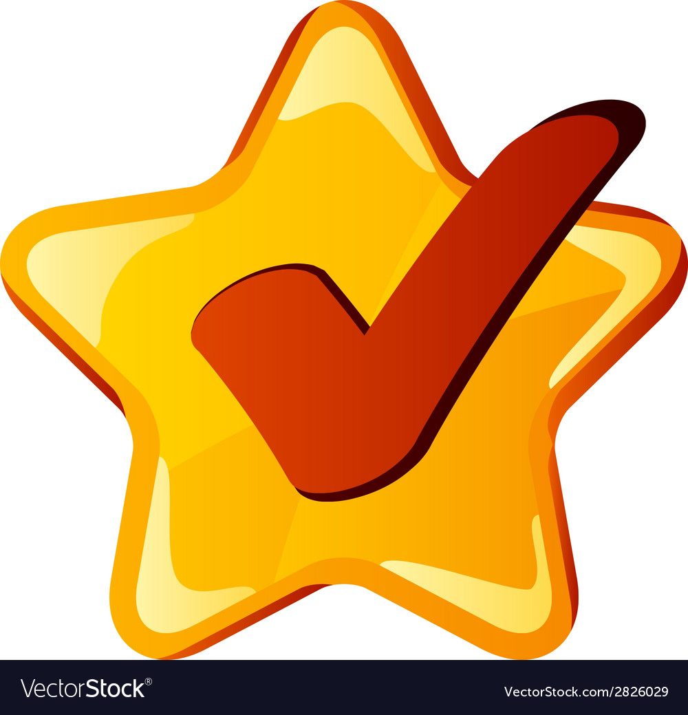 Yellow checkmark star vector | Price: 1 Credit (USD $1)