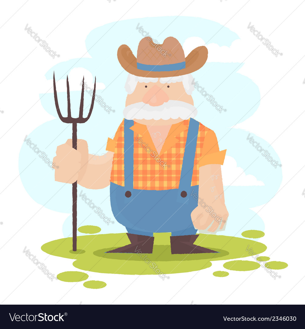A funny farmer cartoon character vector | Price: 1 Credit (USD $1)