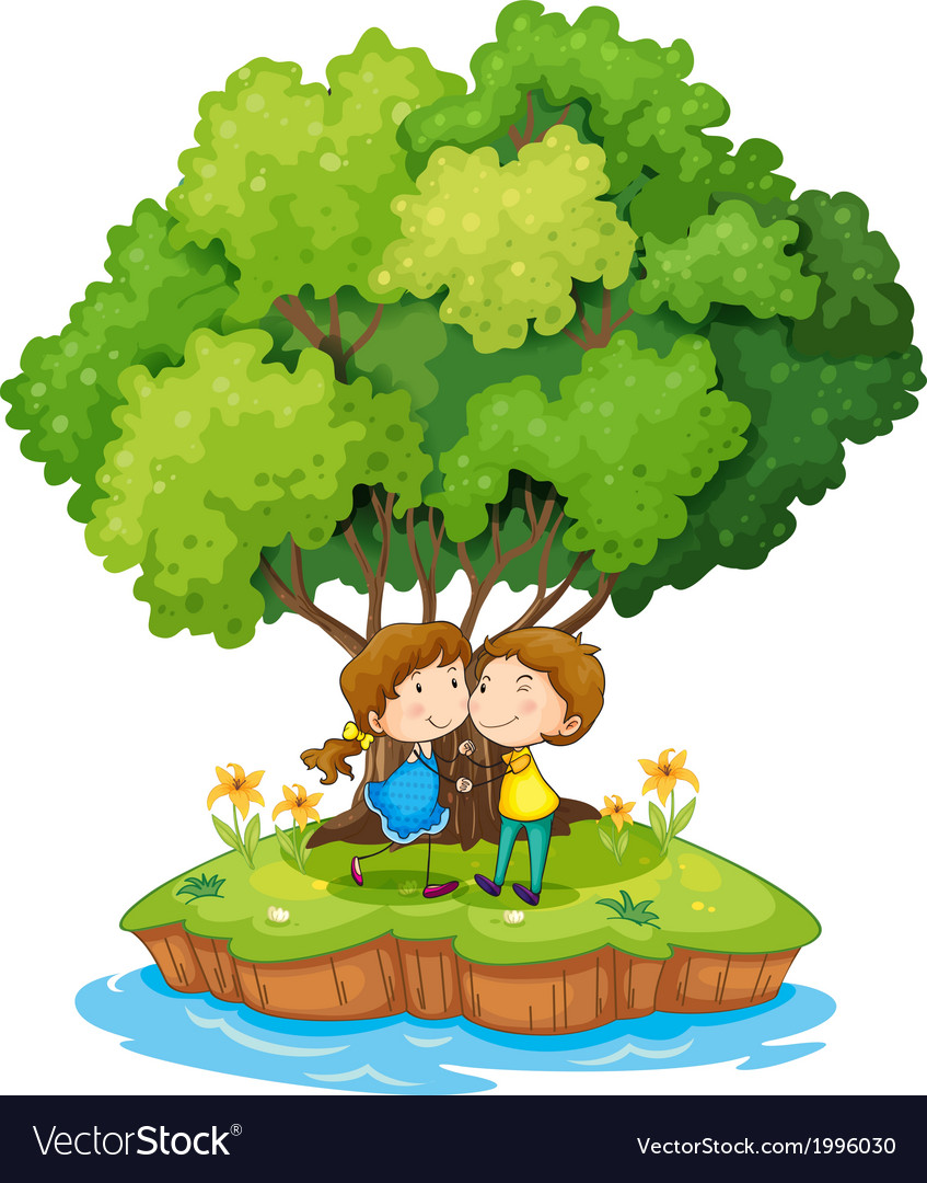 An island with a sweet couple vector | Price: 3 Credit (USD $3)