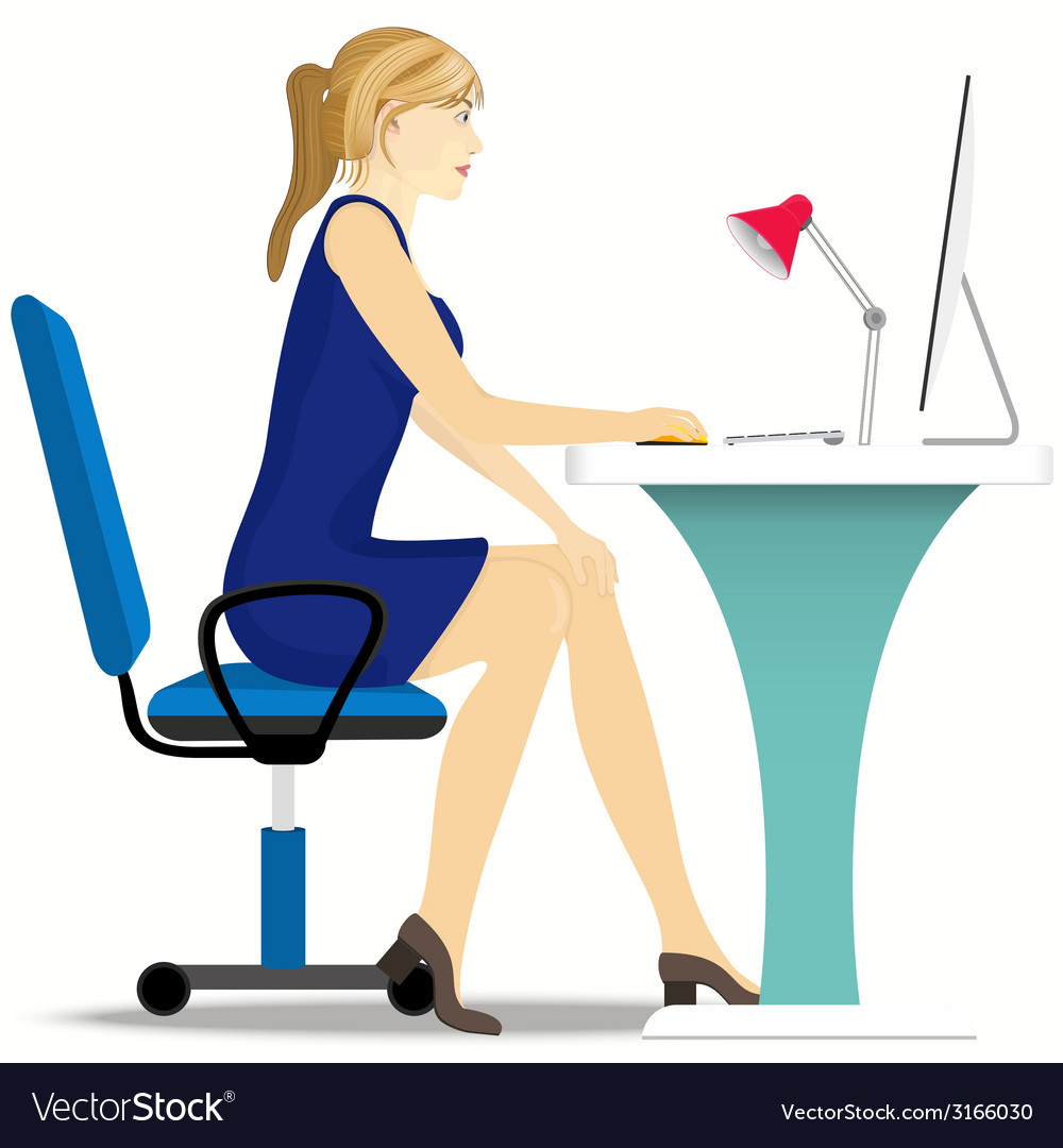 Beautiful girl works on a computer sitting in a vector | Price: 1 Credit (USD $1)