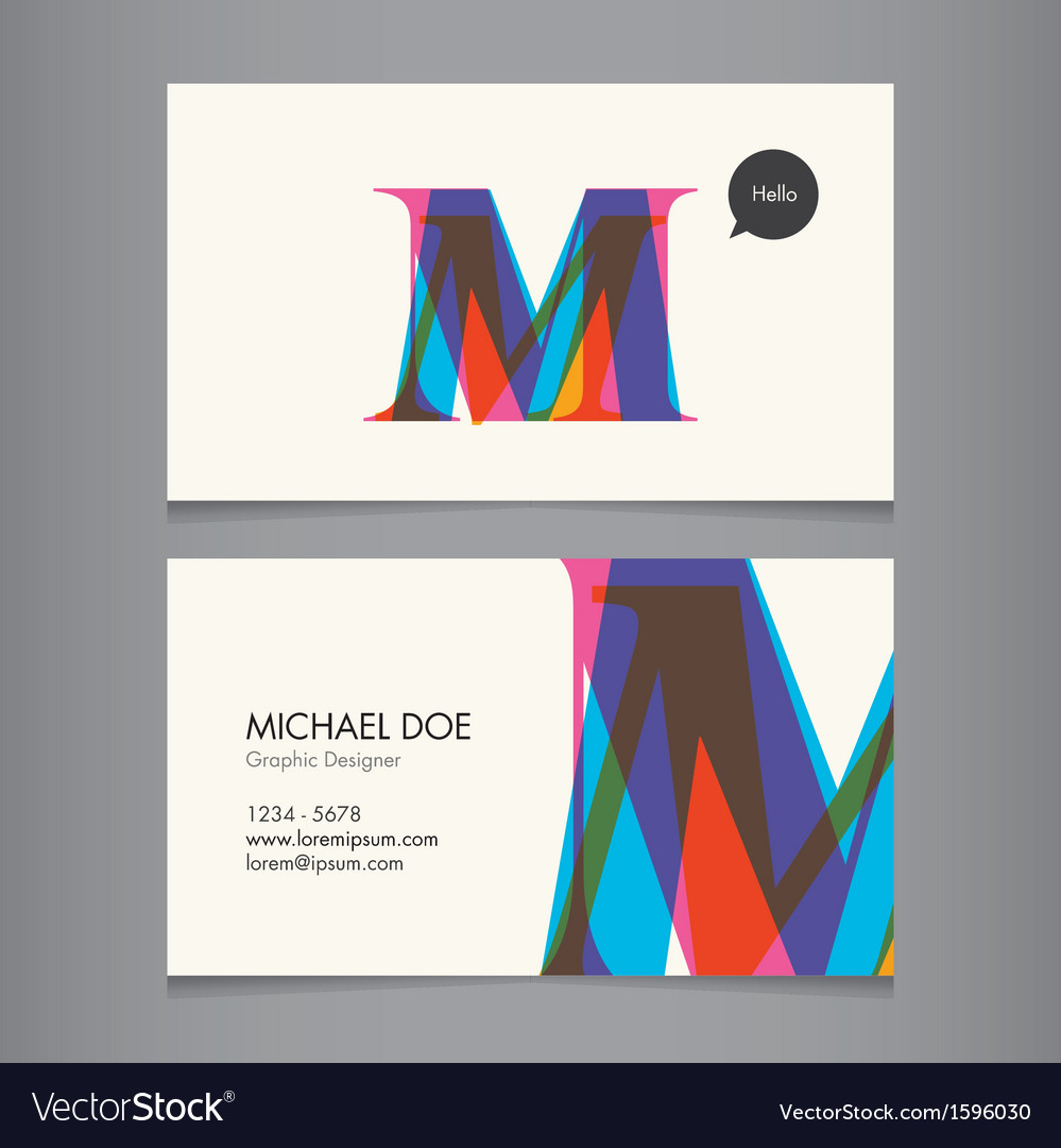 Business card template letter m vector | Price: 1 Credit (USD $1)