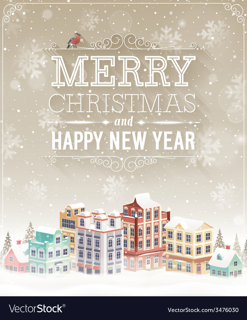Christmas city card vector | Price: 3 Credit (USD $3)
