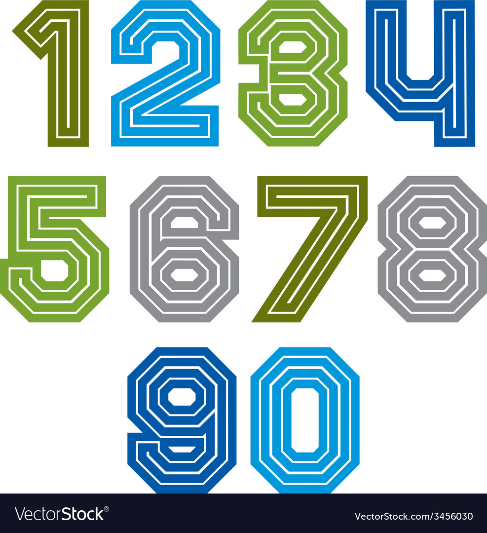 Colorful regular acute-angled digits bright vector | Price: 1 Credit (USD $1)