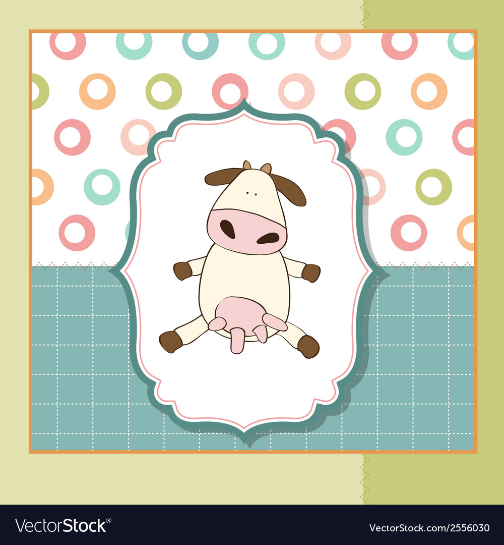 Fun greeting card with cow vector | Price: 1 Credit (USD $1)