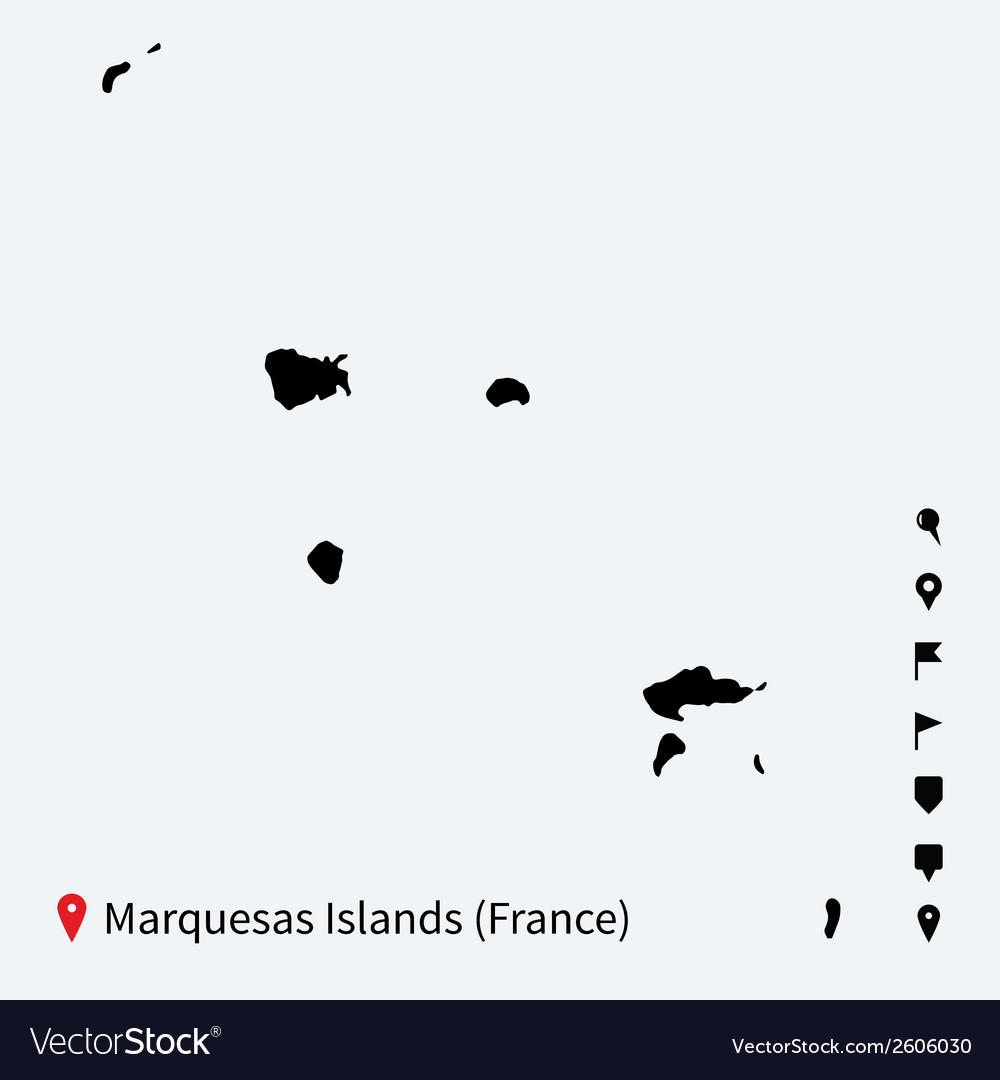 High detailed map of marquesas islands with vector | Price: 1 Credit (USD $1)
