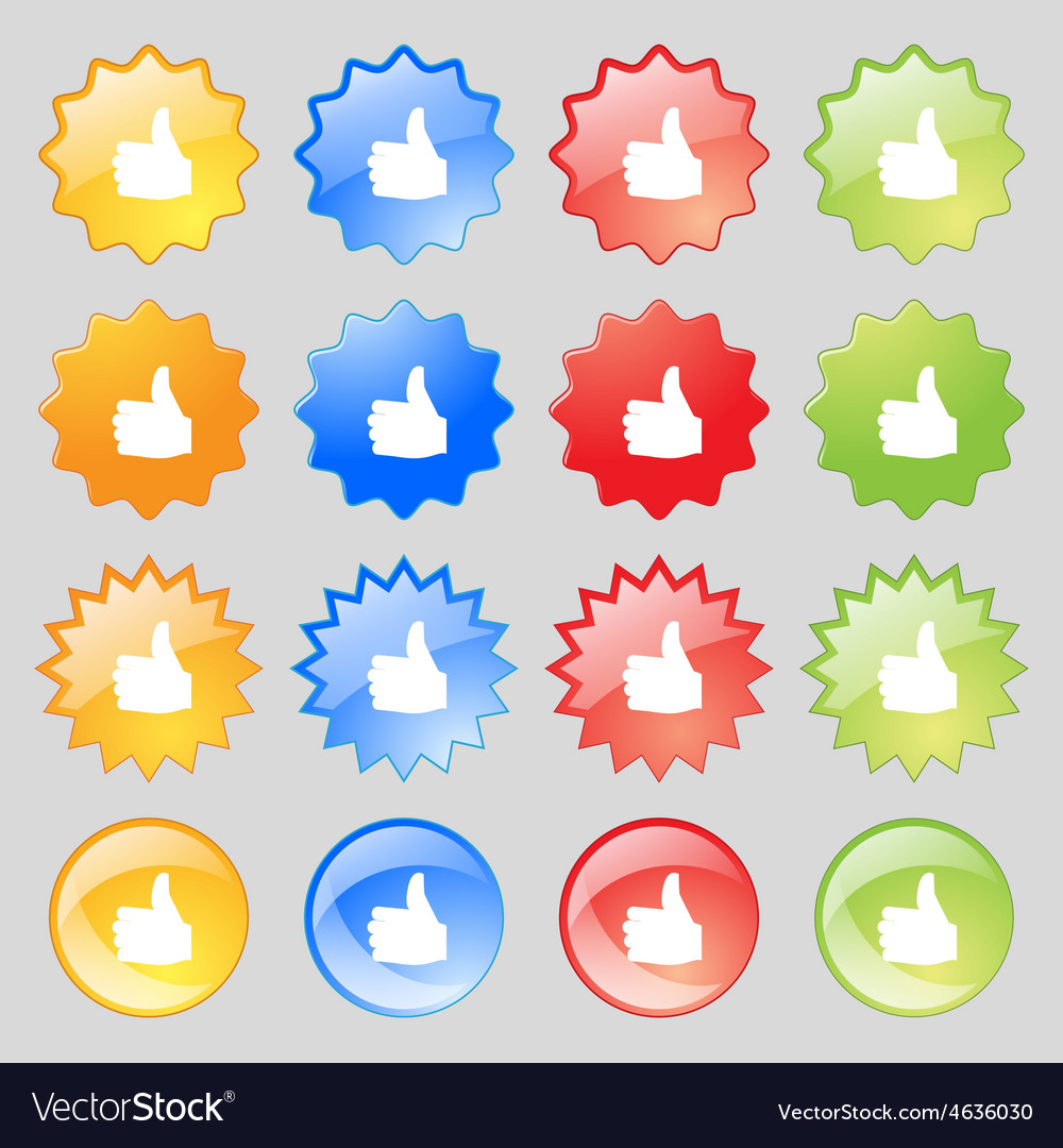 Like thumb up icon sign big set of 16 colorful vector | Price: 1 Credit (USD $1)