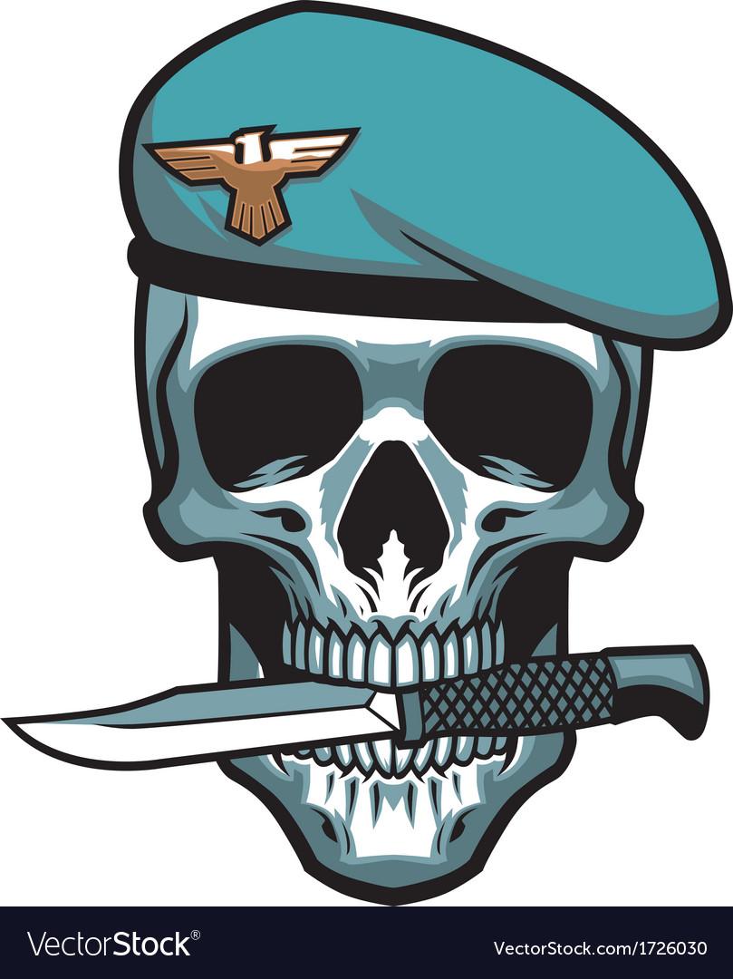 Military skull bite a dagger vector | Price: 1 Credit (USD $1)