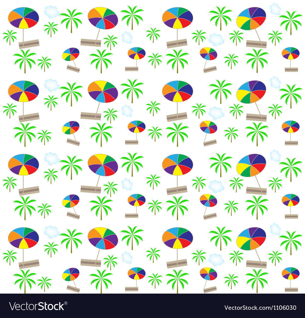 Palm trees umbrellas seamless pattern vector | Price: 1 Credit (USD $1)