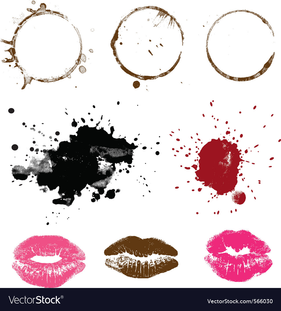 Set of stains  coffee ink and lipstick vector | Price: 1 Credit (USD $1)