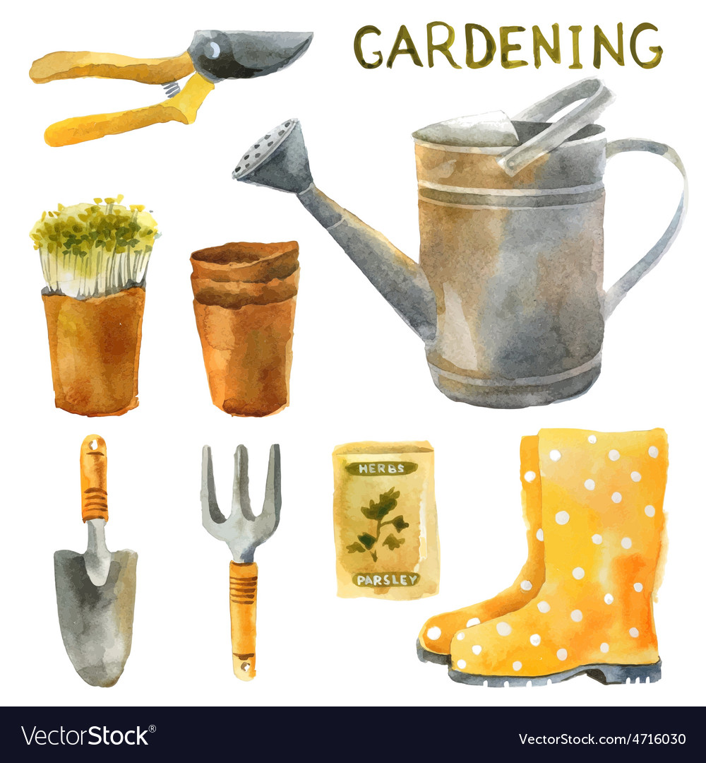 Watercolor gardening set vector | Price: 1 Credit (USD $1)