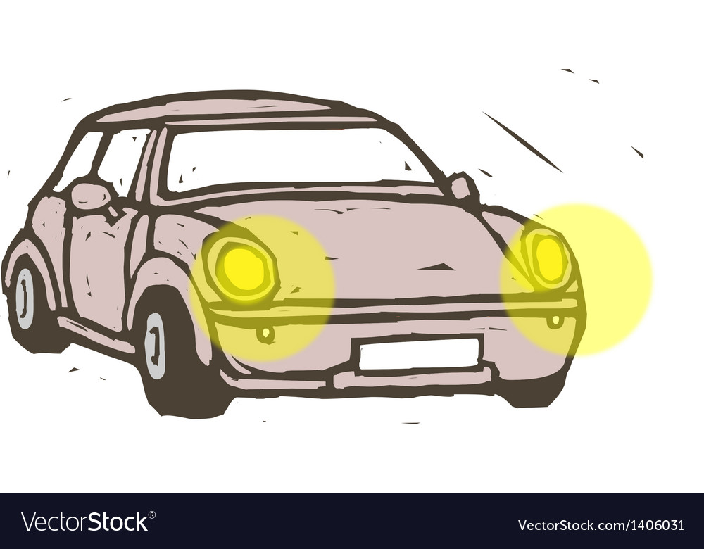 A car with the headlights on vector   Price: 1 Credit (USD $1)