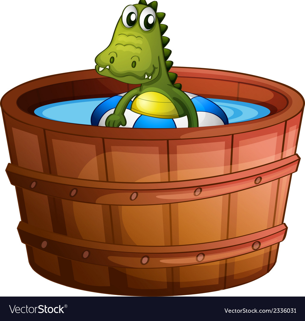 A crocodile swimming at the bathtub vector | Price: 1 Credit (USD $1)