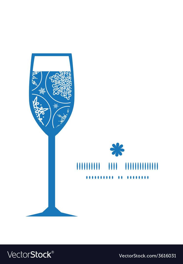 Falling snowflakes wine glass silhouette pattern vector | Price: 1 Credit (USD $1)