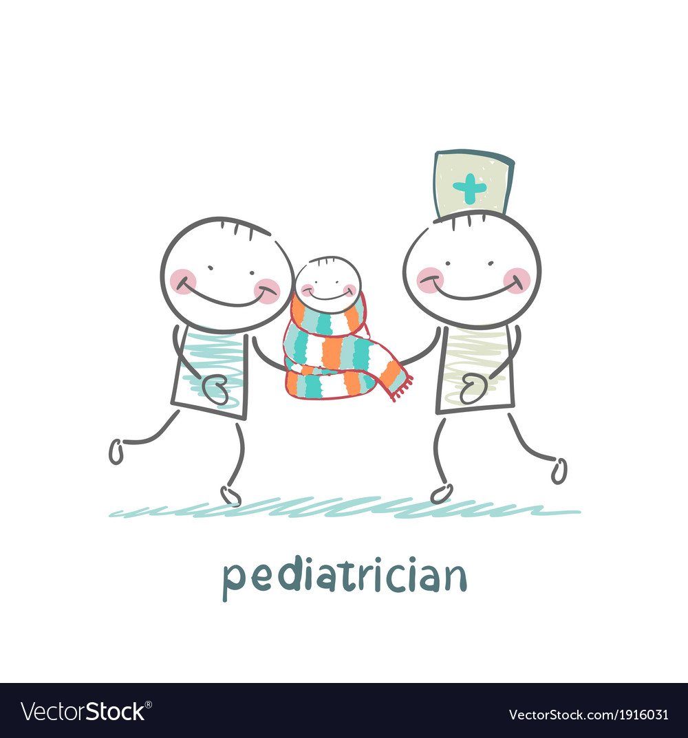 Pediatrician standing next to his father and a vector | Price: 1 Credit (USD $1)
