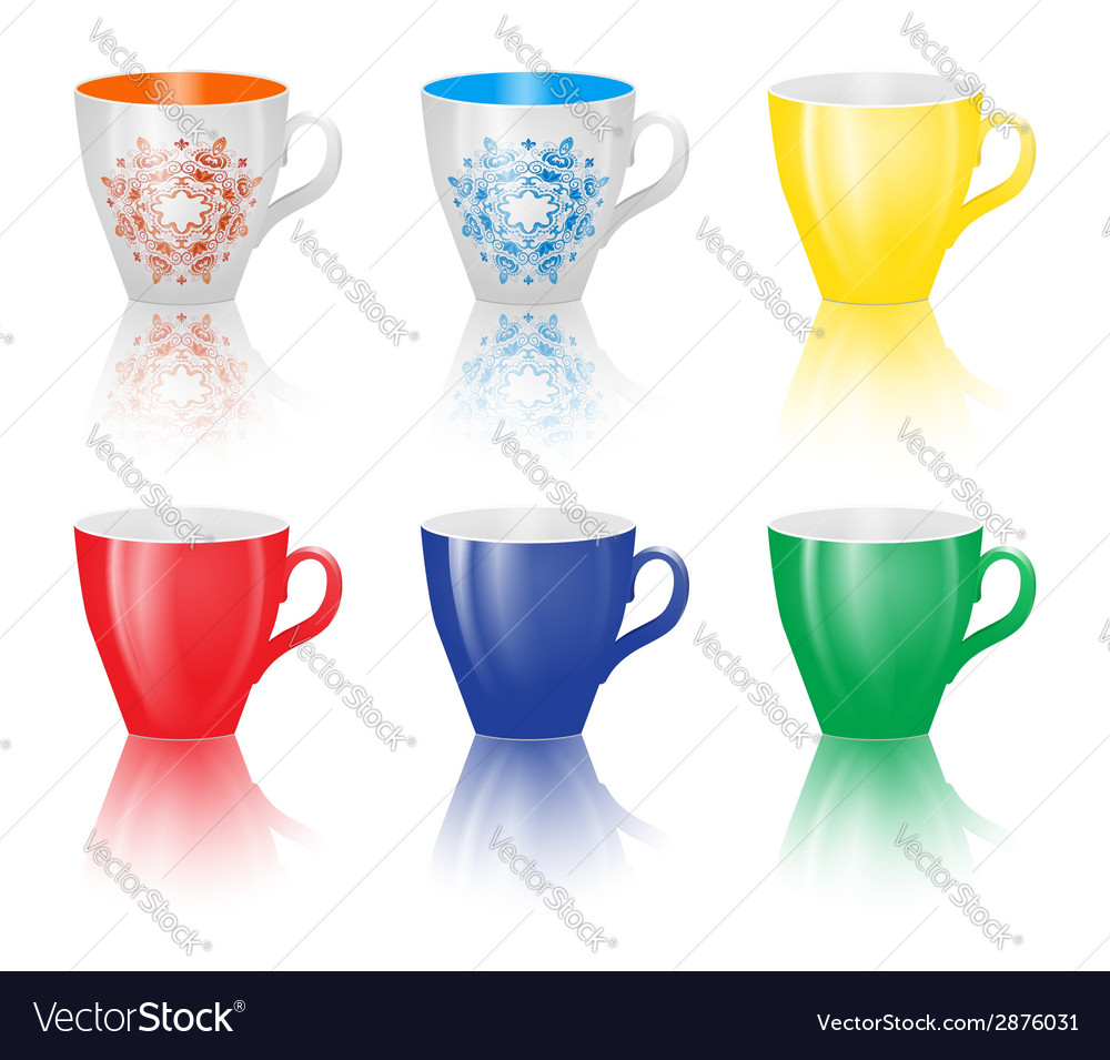 Set of colored cups isolated on white background vector | Price: 1 Credit (USD $1)
